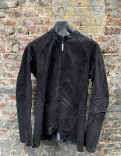"""Blouson isaac sellam """"ARPENTEUR"""" en cuir stretch noir avec agrafes au dos"""