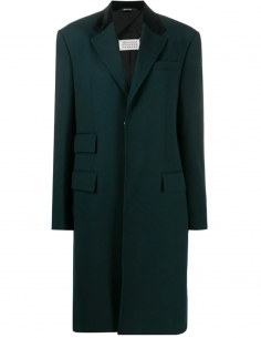 Straight green coat with 3 pockets