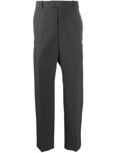 Grey Wide Trousers Wool