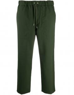 Kaki Wool Pants Elastic Waist