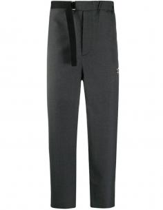 Pantalon Taille Elastique Poche Zippée Gris