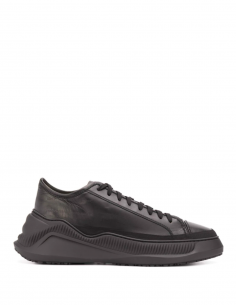 Black Rubber Sole Leather Sneakers