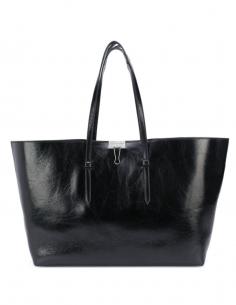Black Binder Bag Ruffled Leather