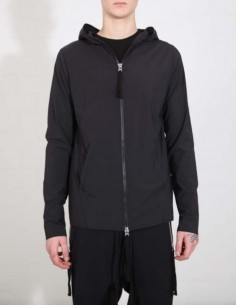 THOM KROM Zipped sweatshirt with a hood in stretched nylon