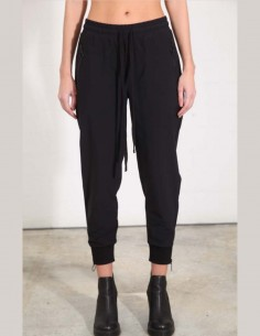 Pantalon de jogging noir en nylon stretch thom krom