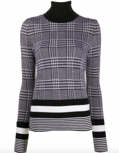 Pull Col Roule Jacquard Gris