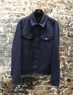 Blue Jacket Wool 2 Pockets Flap