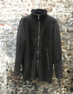 Manteau Long en Shearling Marron
