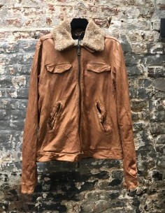 Brown Fur Collar Leather Jacket
