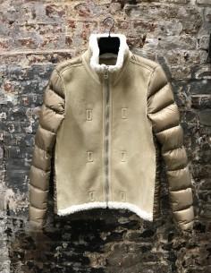 Beige Shearling Short Hoodless Down Jacket