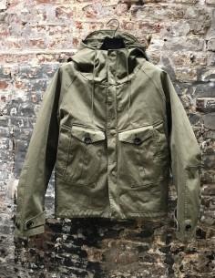 Short Hooded Parka 2 Pockets Khaki Buttons Flap