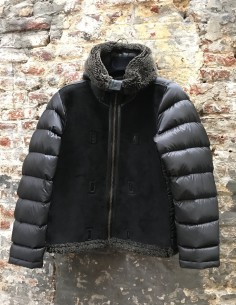 Black Shearling Hooded Down Jacket