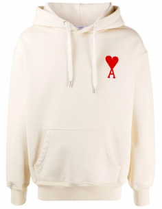 ECRU HOODIE WITH BIG HEART