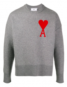 GREY ROUND COLLAR PULLOVER WITH OVERSIZE RED HEART EMBROIDERED
