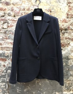 Blue virgin wool tailored blazer jacket