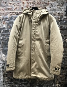 Beige Hooded Zipped Quilted Parka