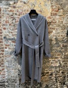 Grey Oversized Coat Belted