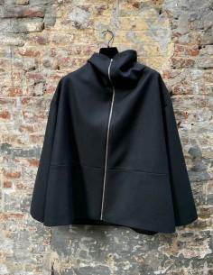 Black Oversized Short Coat with Chimney Collar