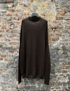 Brown Contrasting Knit Crater Collar Sweater