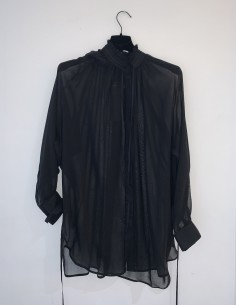 Black Blouse With Collar Mao Frosted in Cotton And Silk