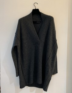 Pull Large Col V Coutures Apparentes Gris