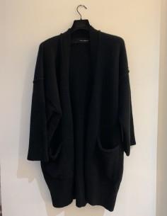 Black Oversized 5 Button Wide V-Neck Cardigan