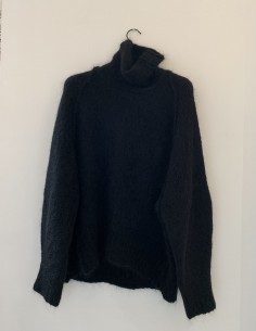 Black Mohair Mixed Sweater Oversized