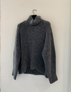 Grey Oversized Mohair Blend Sweater