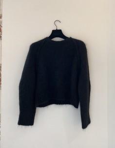 Black Round Neck Sweater Oversized