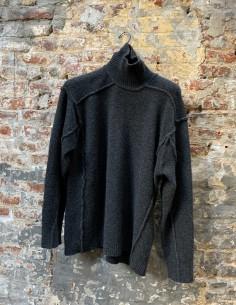 Grey High Collar Yack Stitching Sweater