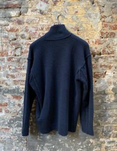 Blue High Collar Yack Stitching Sweater