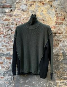 Bi-Material Khaki Turtleneck Sweater