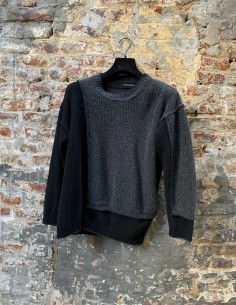 Grey Round Neck Bi-Material Sweater