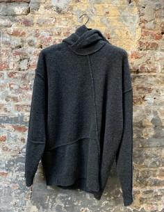 Blue Stitching Shawl Collar Yack Sweater