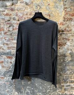 Round Neck Wool Sweater Merinos Grey