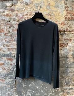 Blue Round Neck Sweater Gradient Wool Virgin