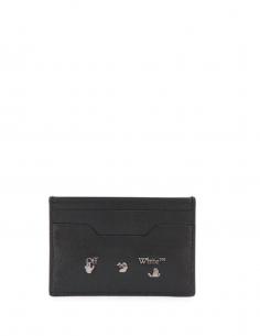 Porte Carte Logo Cuir Noir