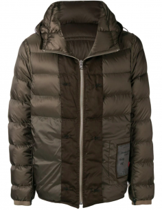 Brown Hooded Zipped Down Jacket