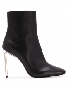 Boots Leather Square Toe High Heel Black Metal Upper