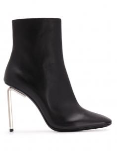Boots Cuir Bout Carré Haut Talon Tige Métal Noires