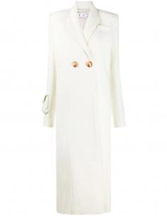 White Maxi Ribbed Coat