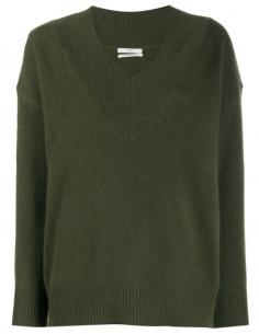 V-neck Khaki Cashmere Sweater