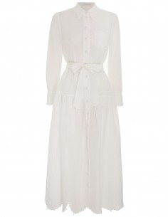 Robe Chemise Manches Longues Details Guipure Blanche