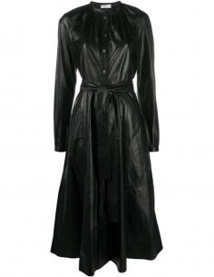 Robe Longue en Cuir D'agneau Col Mao Noire