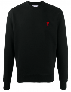 Black Round Collar Pullover With Little Red Heart Embroidered