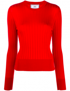 Red Round Neck Ribbed Knit Sweater