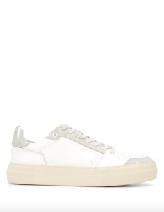 White low sneakers bi-material