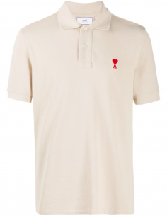 Polo Shirt in Quilted Cotton with Embroidered Red Heart - beige