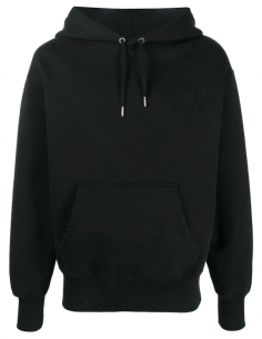 Hoodie with Tone On Tone Black Logo Patch