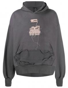 Grey cracked hoodie